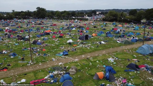 The sea of abandoned tents at Reading Festival, with the vast majority set to be dumped in Britain's landfill sites