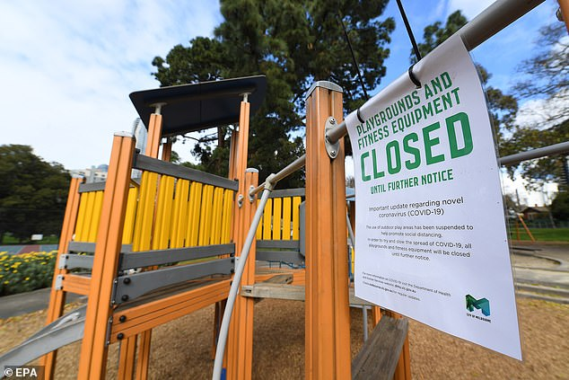 Under the new plan to be set out on Wednesday it is thought children's playgrounds will be reopened (pictured, a closed playground in Flagstaff Gardens, Melbourne)