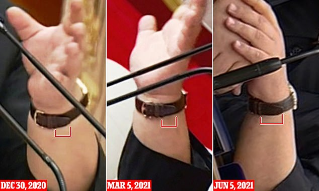 Pictured: Kim Jong Un's watch strap shown in North Korean state propaganda this week appeared to give away his weight loss, compared with photos from December 2020 and March 2021 show his watch strap was done up looser to accommodate his thicker wrists. Photos from this week showed more of the watch strap showing after the buckle, and did not look as tight