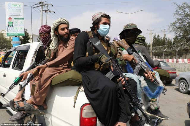 Afghanistan is now fully under the control of the Taliban - above Taliban soldiers in Kabul