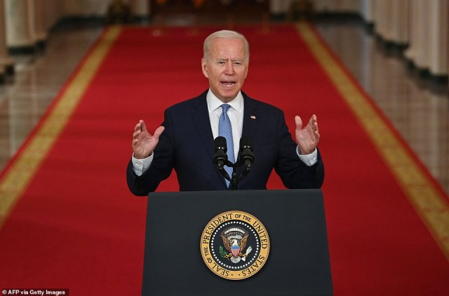 President Joe Biden on Tuesday said the US troop withdrawal from Kabul was an 'extraordinary success' and blamed Donald Trump and local soldiers for the chaos in Afghanistan