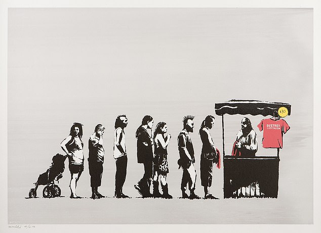 Banksy's team said he has never created any NFTs, which are unique computer files linked to photos, songs, works of art and other media. Pictured: Print of Banksy artwork entitled 'festival'