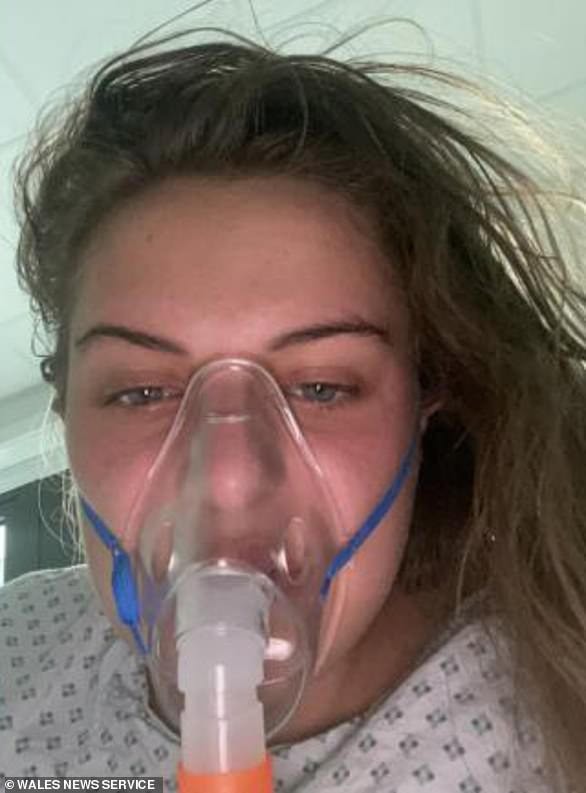 Warning: Maisy Evans, 17, from Newport, had severe Covid symptoms and waswas admitted to hospital with aCovid-related blood clot