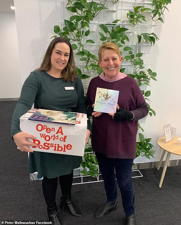 """Nicole Erfurth (left) contacted author Mem Fox (right) who donated a box of signed copied of her beloved classic Possum Magic to newly arrived afghan refugee families """"within hours"""""""