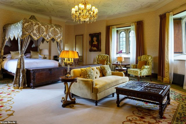 An octagonal tower houses the bedchamber that belonged to Henry VIII. Pictured here is one of the