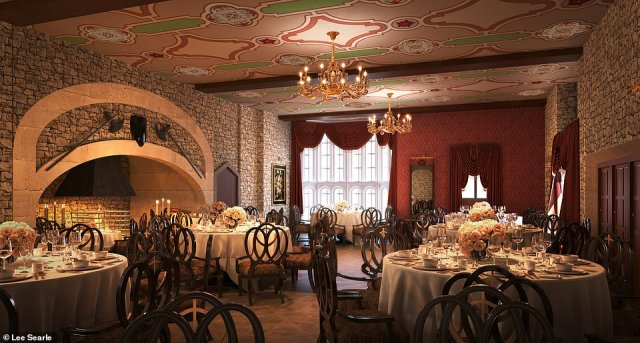 Pictured is the Thornbury Castle's 'regal restaurant' where Kate ordered a saddle of lamb 'fit for a king'