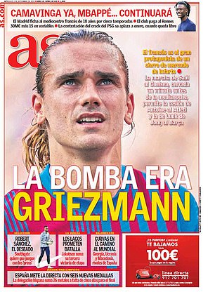 AS Diario described the news of Griezmann's return as a 'bomb'