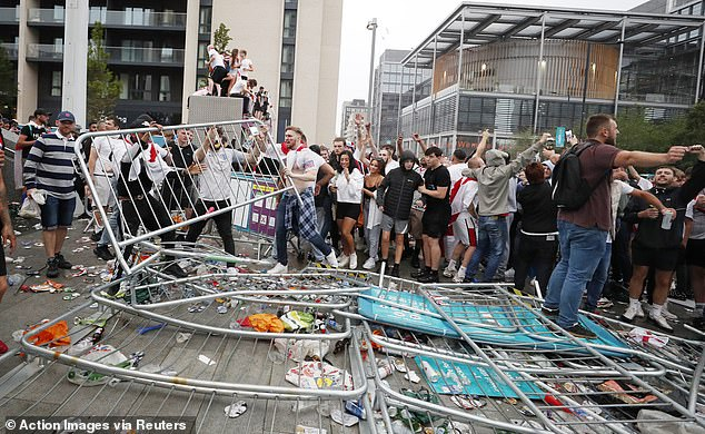 Hordes of supporters tried to storm their way into Wembley to catch England in action v Italy