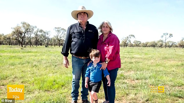 Memphis Francis (pictured with his grandparents Mark and Alex on their cattle station) hadn't seen his parents in eight weeks