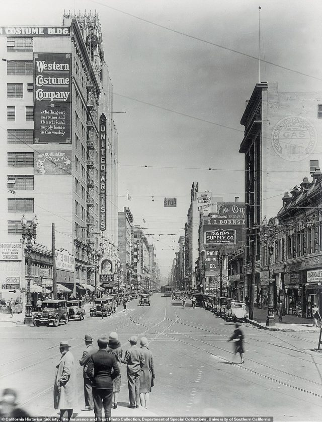 BROADWAY FROM OLYMPIC: The photo on the left was captured in 1933 and shows the Broadway theater district. 'Broadway started out as a dirt road named Eternity street, because it led to the cemetery,' Rosemary reveals. The street was renamed in 1890, and was recognized as the main entertainment street in Los Angeles until the 1960s. Around the time this photo was taken, Rosemary says 'it boasted the most vaudeville and movie palaces in the country'. But Broadway fell into a state of neglect. The author says: 'A largely immigrant population of vendors took over the old theatres of the 1920s. The sumptuous movie palaces became discount shops and flea markets.' Thankfully, there's been a turnaround