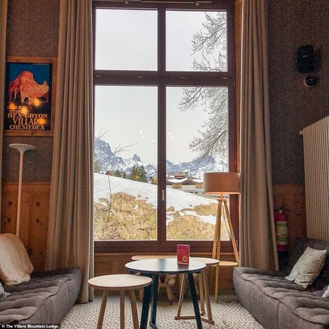 With views of the famous Mont Blanc, the village, known for its prestigious and eye-wateringly expensive boarding schools, is part of the wider ski-resort of Villars - a favourite with royalty. Pictured: Inside the Villars Mountain Lodge