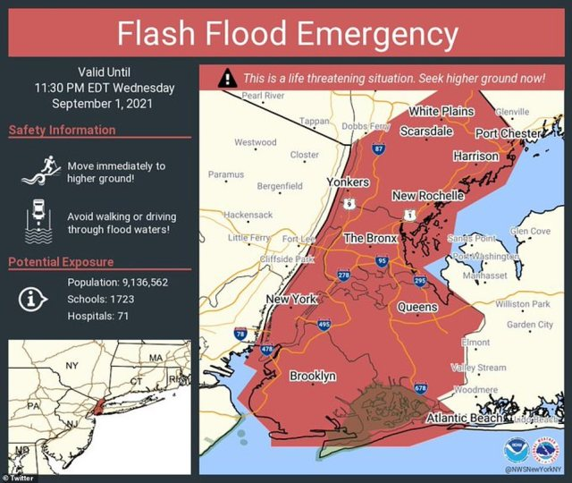 The National Weather Service's office in New York issued a Flash Flood Emergency for New York City for the first time ever
