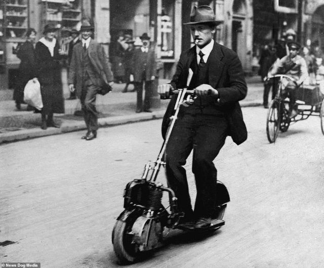 A man riding a German-built Krupp Autoped in Berlin, circa 1920. The motorised scooter flopped not long after the Great War ended. Practicalities got in the way, such as the vehicle weighing over 100lbs, making carrying it difficult