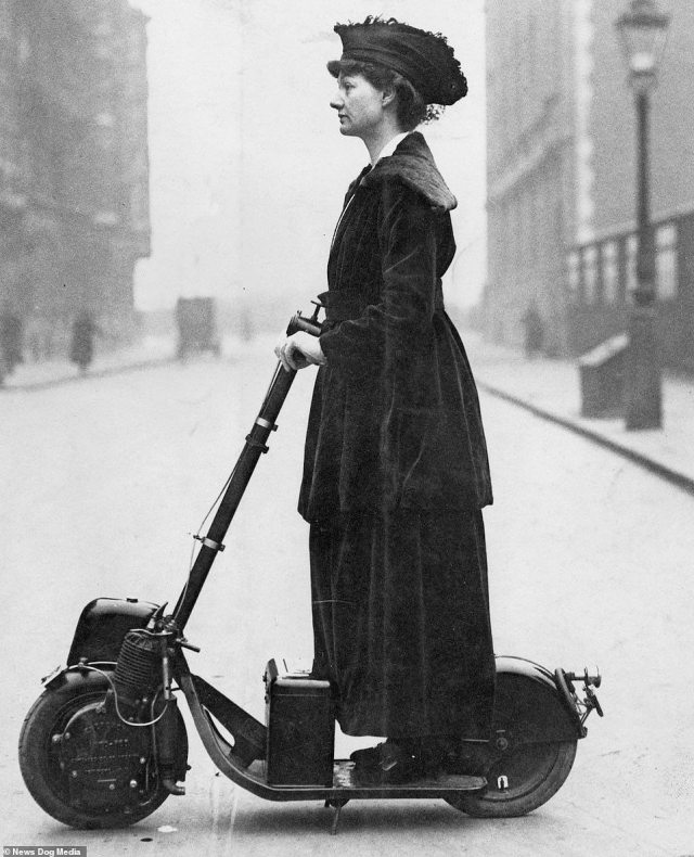 Lady Florence Norman, a British activist and Suffragette, travelling to work on one of the first ever motorised scooters in London, circa 1916.Part of the vehicle's popularity during the First World War was due to its very low fuel consumption