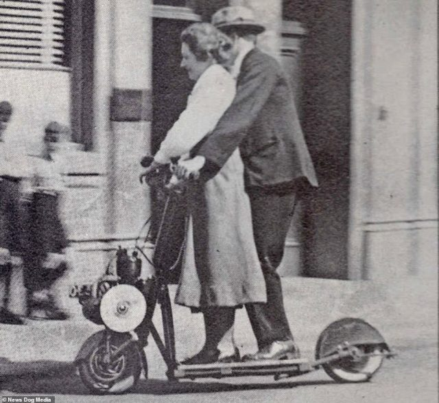 A couple share an Autoglider scooter in England, circa 1920.Electric scooters may seem like a new phenomenon, but these incredible photographs from over a century ago reveal that they have actually been around before