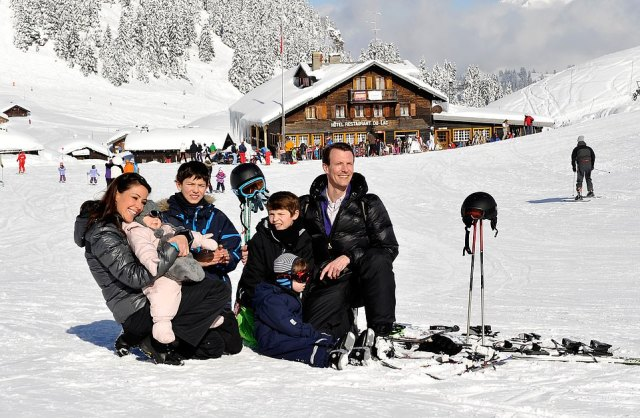 Princess Marie of Denmark, Prince Nikolai of Denmark Prince Felix of Denmark, Princess Athena of Denmark, Prince Henrik of Denmark and Prince Joachim of Denmark meet the press, whilst on skiing holiday in Villars in 2013