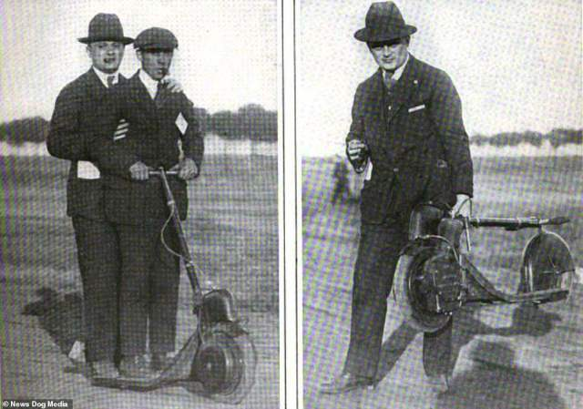 Two men show how to operate an Autoped, date and location unknown.Some areas such as London and Oxford are now running pilot schemes for the vehicles, which are left in ranks for people to use
