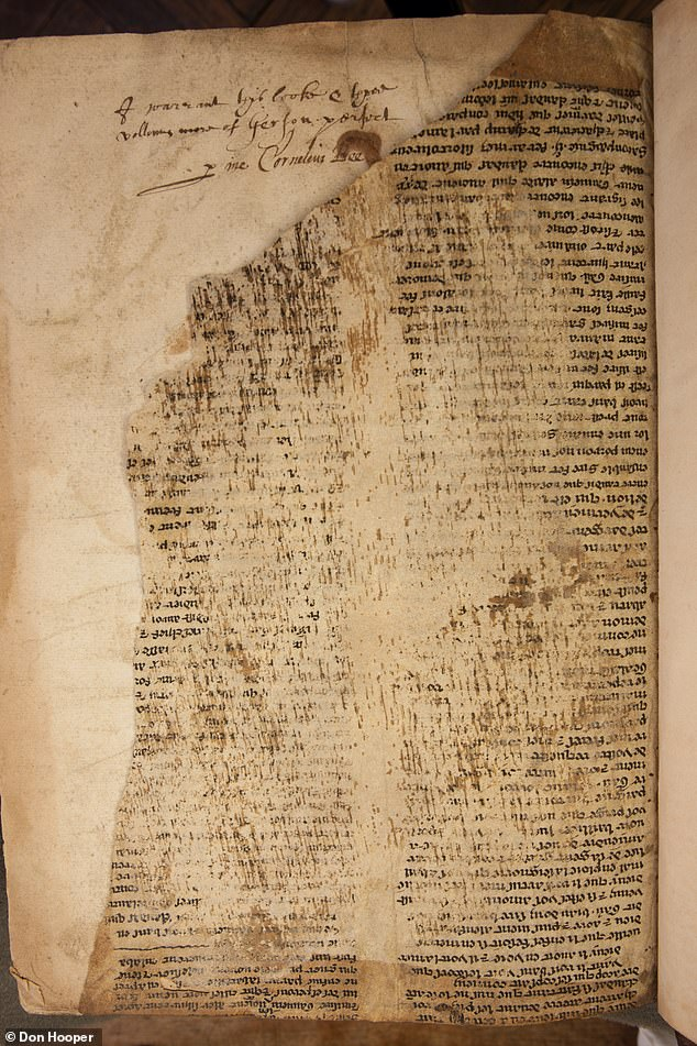 Fragments of a hand-written medieval manuscript telling the story of Merlin the Magician from the legend of Camelot have been translated into English. Researchers from the Universities of Bristol and Durham used advanced imaging techniques to reveal damaged sections of the text previously invisible to the naked eye. Pictured: one of the damaged fragments