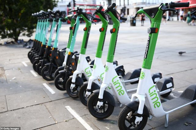Modern-day Tier and Lime electric scooters parked outside South Kensington Station on August 14.Councils are currently trailing e-scooters in a number of London boroughs