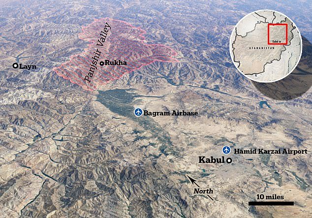 Pictured: A satellite map showingPanjshir Valley's proximity to Kabul, which was taken by the Taliban on August 15 amid the withdrawal of US and western forces from Afghanistan