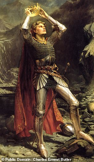 The text tells of battles between King Arthur (pictured) and his King Claudas,