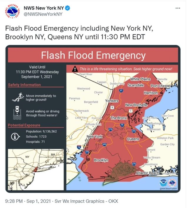 9.28pm: The National Weather Service issues a Flash Flooding Emergency - the first of its kind - across NYC