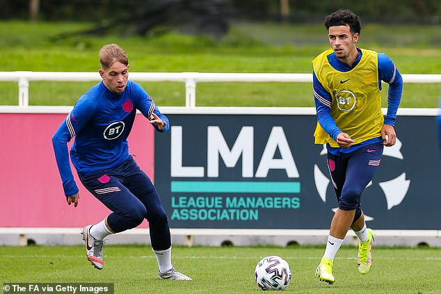 Arsenal's Emile Smith Rowe (left) and Liverpool's Curtis Jones (right) are among those in Carsley's first squad as he prepares for his first game since succeeding Aidy Boothroyd