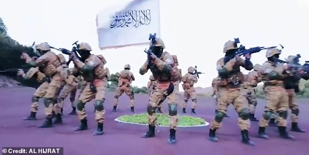 And a Taliban propaganda video, which was shared by Taliban bosses on social media, saw jihadi fighters practicing various martial arts and combat displays