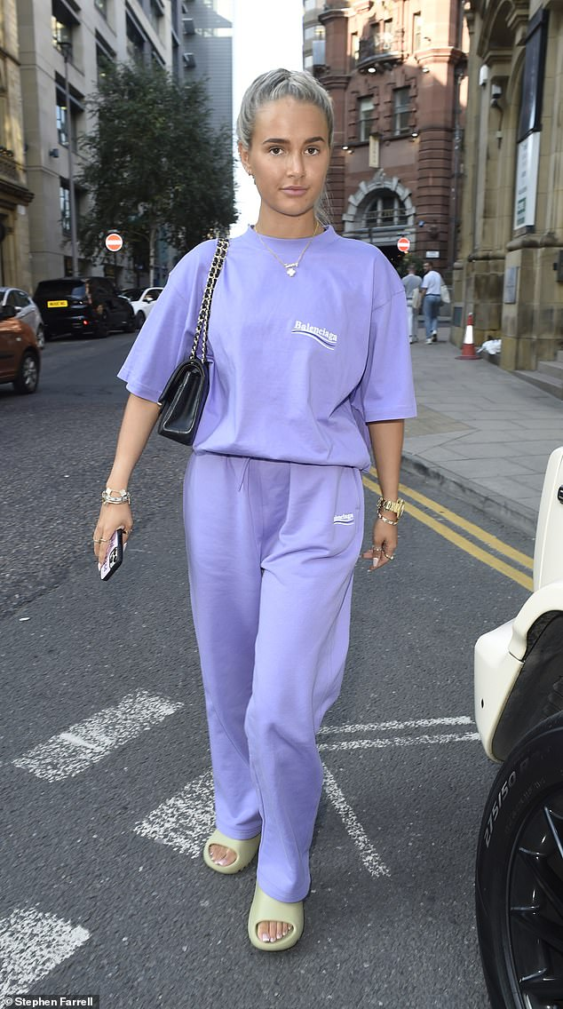 Chilled: Molly-Mae Hague sported a stylish laidback look as she stepped out of Rosso restaurant in Balenciaga loungewear in Manchester on Thursday