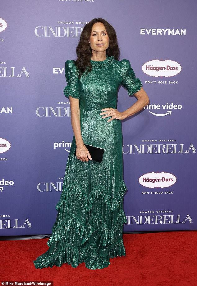 Wow!Minnie Driver put on a dazzling display in a sparkly green gown as she lead the stars at the Cinderella premiere in London on Thursday
