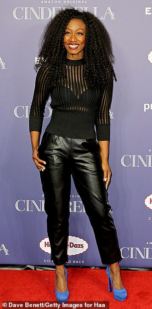 Edgy:Following the age-defying beauty was West End star Beverly Knight, who looked sensational in a translucent striped-black sweater, which she paired with onyx leather trousers