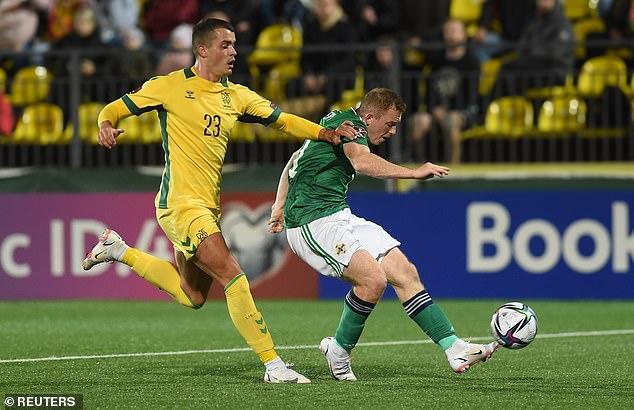 Shayne Lavery restored Ireland's two-goal marginby turning in Jordan Thompson's cross