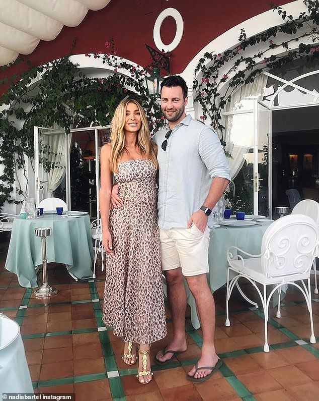 Scandal: Nadia (left), who was married to 2007 Brownlow medallist Jimmy Bartel (right) for five years until their separation in 2019, was caught attending an illegal party during Melbourne's Covid lockdown earlier this month
