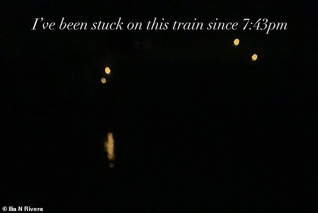 Ilia Rivera wrote in a post to social media that she had been stuck on the train since 7:43 p.m.