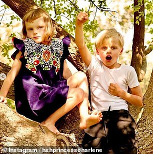 Play time! Twins Jacques and Gabriella climb a tree in one of the photos shared on Instagram.Albert and six-year-old twins Jacques and Gabriella will stay with Charlene while she recovers, the palace previously announced, although it is not clear how long their stay will be