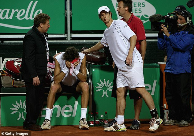 Juan Martin Del Potro retired shortly after his row with Murray at the 2008 Rome Masters