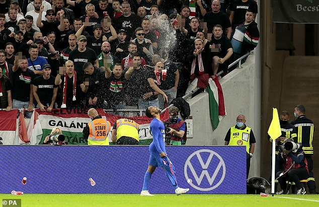 England players, including Raheem Sterling (pictured), were subjected to racial abuse and pelted with objects during last week's 4-0 World Cup qualifying victory over Hungary