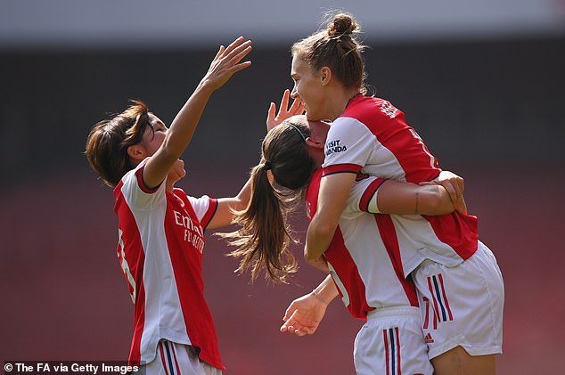 Vivianne Miedema (right) scored Arsenal's opening goal in the 14th minute of the game