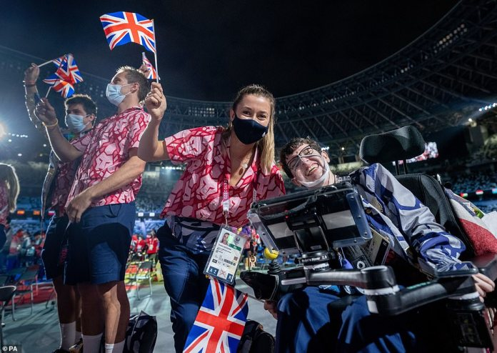 Members of the Great Britain team enjoying themselves during the closing ceremony at Olympic Stadium