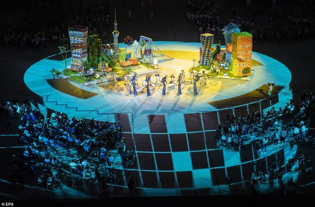 The stadium floor was transformed over the course of the show with projections, props and performances