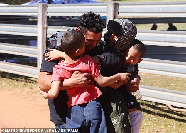 Anthony Elfalak (pictured with his three other sons after AJ was found) didn't get any sleep in the three days since son AJ went missing