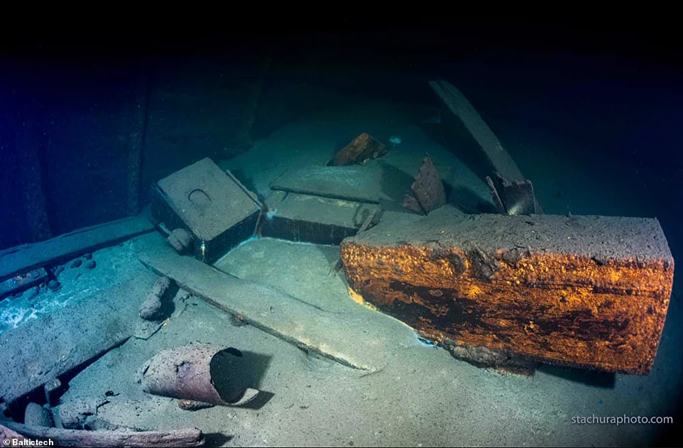 Crates which the divers hope could contain artefacts which the Nazis stole from the legendary Amber Room