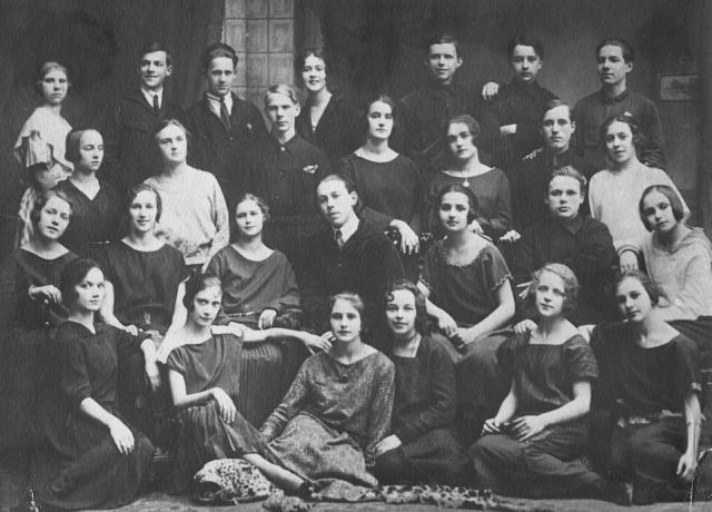 Nina (front row, second from left) is seen with a dance troupe from the Leningrad Choreographic Institute in the mid-1920s