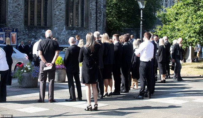 The funeral of Lee Martyn, 43, and his three-year-old daughter Sophie at the Church of St Andrews in Plymouth today