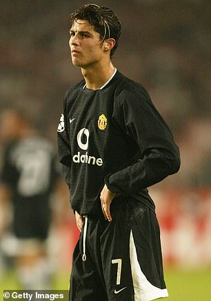 Cristiano Ronaldo pictured for Manchester United in his first season