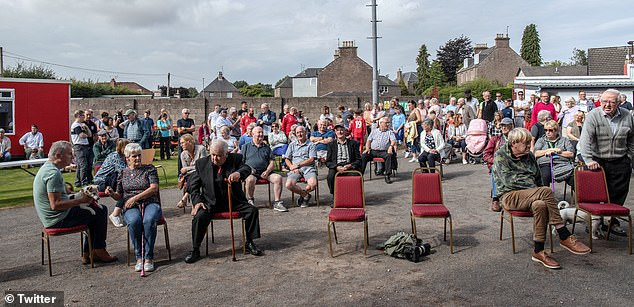 A large crowd gathered in Brechin outside Glebe Park for the unveiling