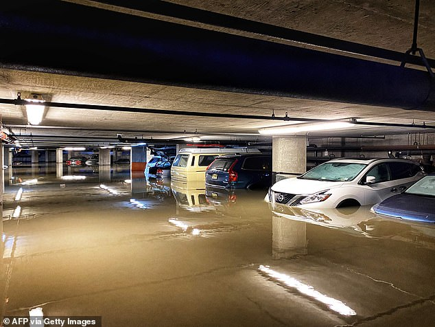 Cars parked in a garage in southwest Hoboken will suffer from extensive water damage