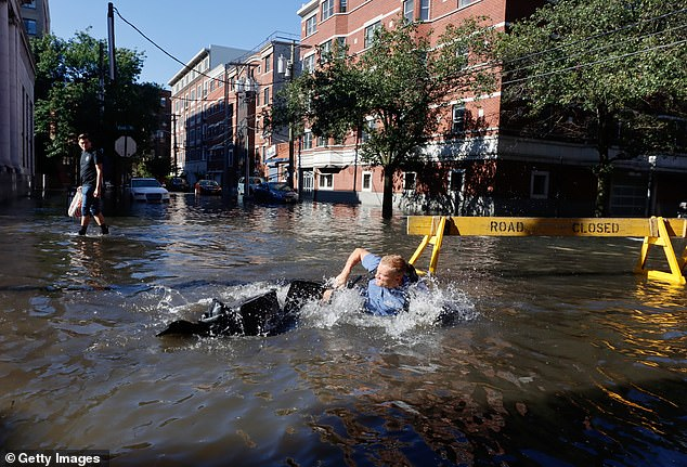 A man fell off his bike into a flooded street on September 2 in Hoboken