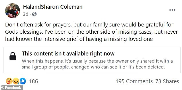 The parents of Jennifer Coleman, who was reported missing on September 1, shared a heartbreaking Facebook post regarding their missing daughter
