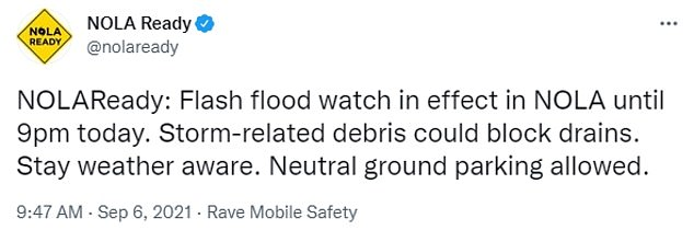 The National Weather Service has urged residents to seek out higher ground, stay vigilant after nightfall when flood dangers are harder to spot and to never walk or drive through floodwaters